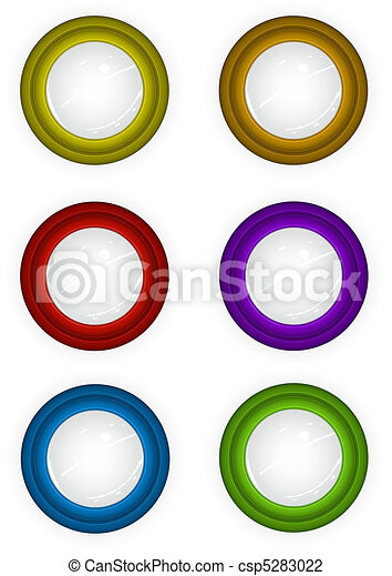 6 round 3d techno reflective colored button icons - csp5283022