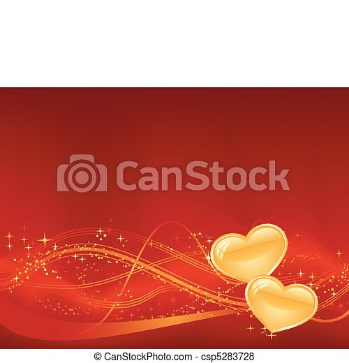 Red background with wavy pattern, dots, stars and two golden hearts in the lower third. Great for your romantic designs, or for Valentines day.  - csp5283728