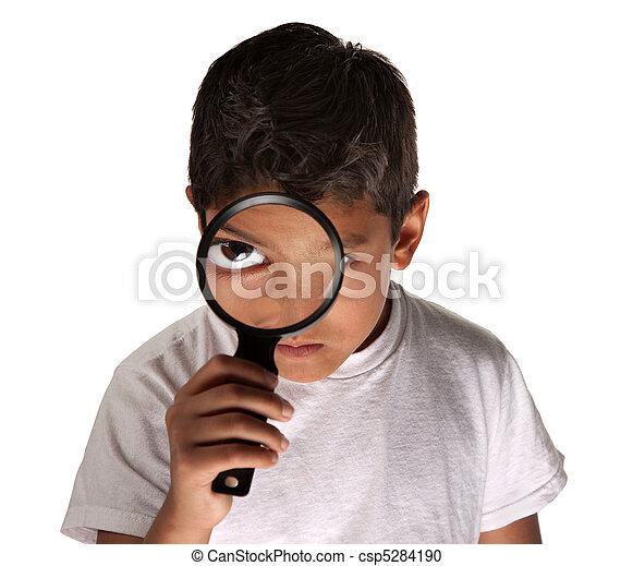 Child with Magnifying Glass - csp5284190