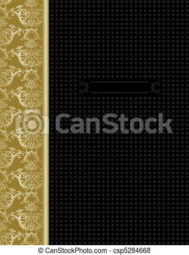 Luxury black & gold cover design - csp5284668