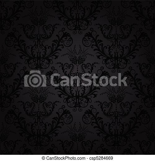 Luxury charcoal floral wallpaper - csp5284669