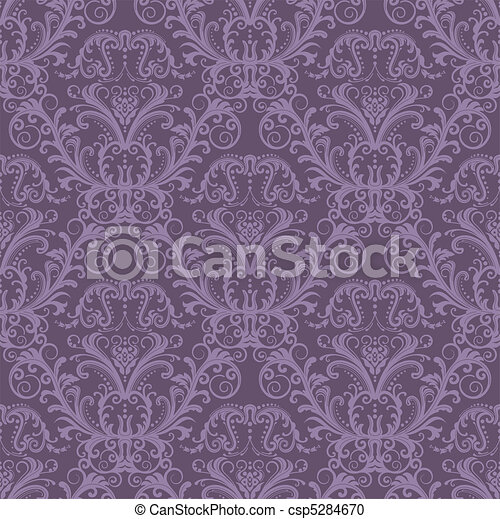 Seamless purple floral wallpaper - csp5284670