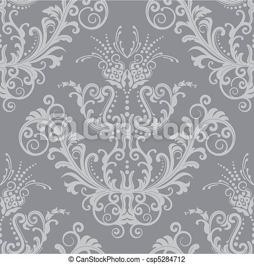 Luxury silver floral wallpaper - csp5284712