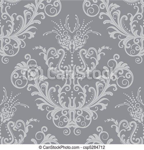 Luxury silver floral wallpaper - csp5284712