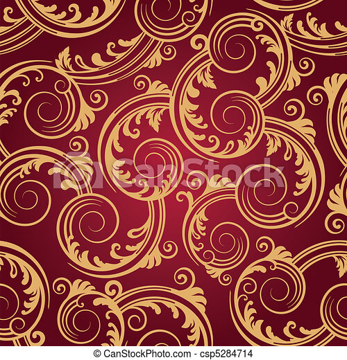 Seamless red & gold swirls pattern - csp5284714