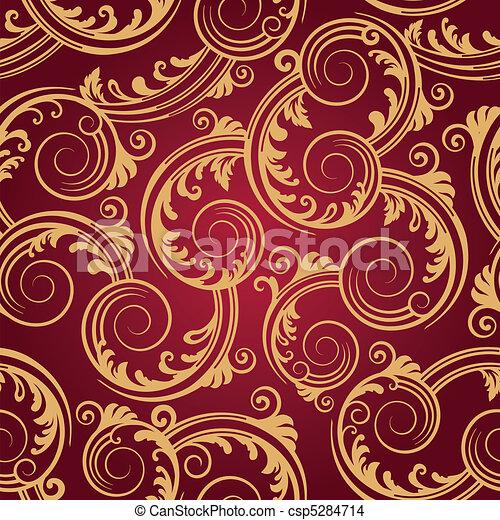 Seamless red & gold swirls pattern - csp5284714