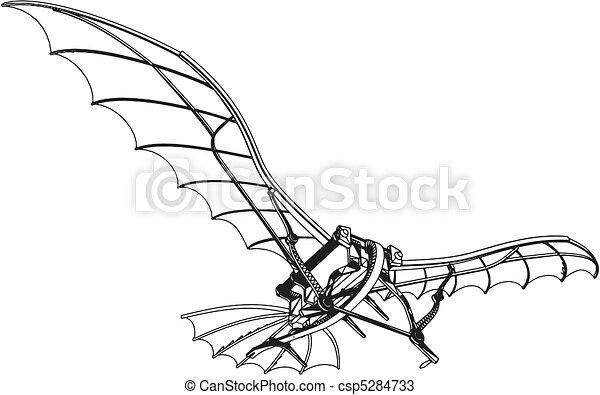 Flying Machine Leonardo Hang Glider - csp5284733