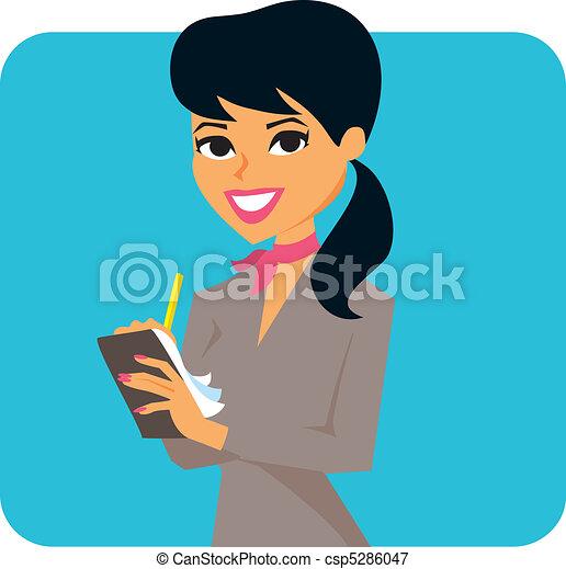 Woman taking notes - csp5286047