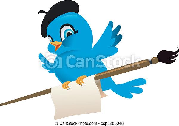Blue Bird Cartoon Illustration - csp5286048
