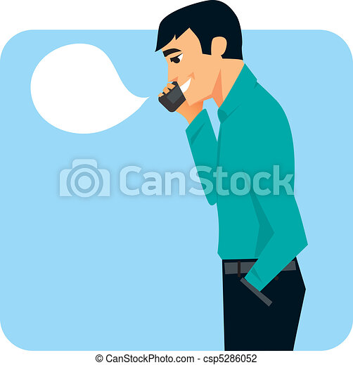 Man on cell phone graphic - csp5286052
