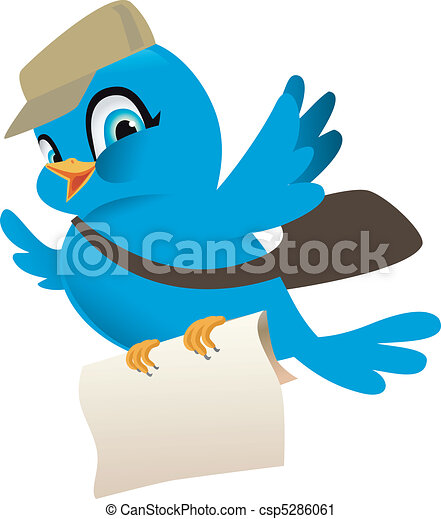 Blue bird with mail - csp5286061