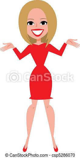 Blonde girl figure presenting - csp5286070