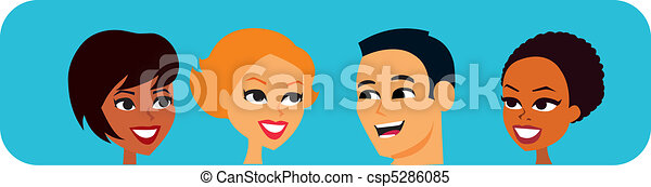 Group of People speaking cartoon - csp5286085