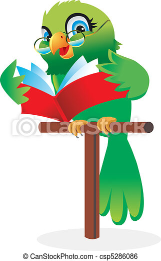 Parrot reading a book Cartoon - csp5286086