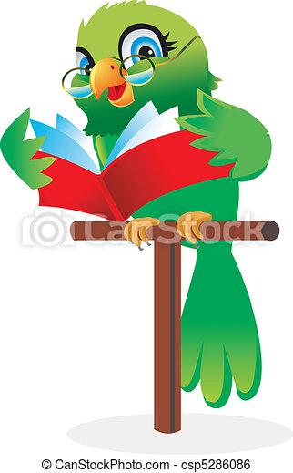 Parrot reading a book Cartoon - csp5286086