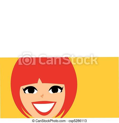 Mod Retro Girl face Banner - csp5286113
