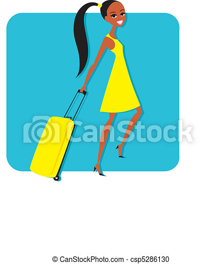 Woman with travelling suitcase - csp5286130
