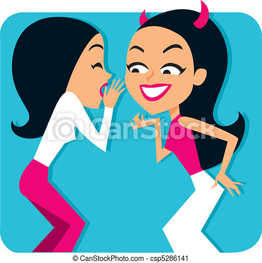 Two girls gossiping Illustration - csp5286141