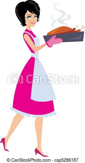 Illustration of Woman baking  - csp5286187