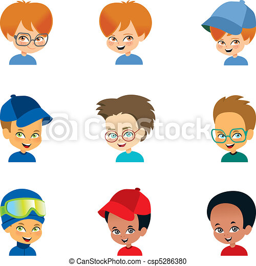 Little boy faces Set - csp5286380