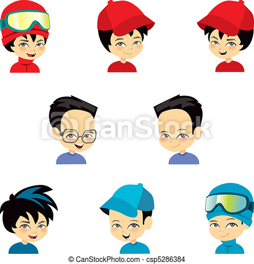 Little Boy Set with nine faces - csp5286384
