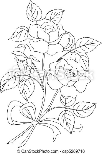 Flowers rose, contour - csp5289718