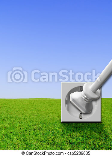 Green energy - power outlet, plug - csp5289835