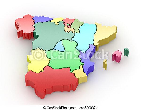Three-dimensional map of Spain. 3d - csp5290374