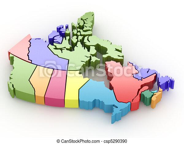 Three-dimensional map of Canada. 3d - csp5290390