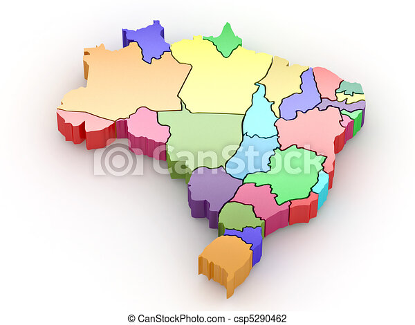 Three-dimensional map of Brazil. 3d - csp5290462
