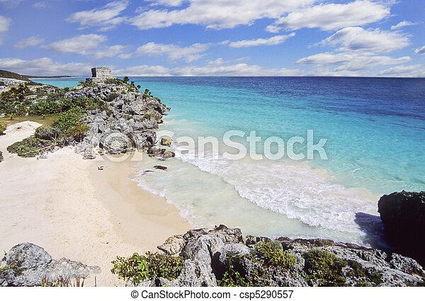 Tulum beach, Yucatan, Mexico - csp5290557