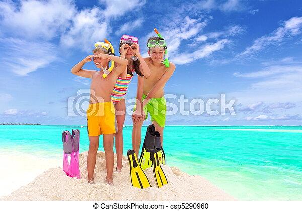 Children on sunny beach - csp5290960