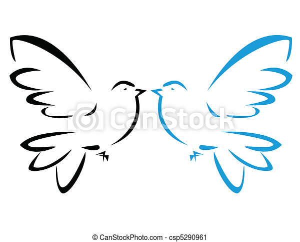 Vector illustration of flying dove - csp5290961