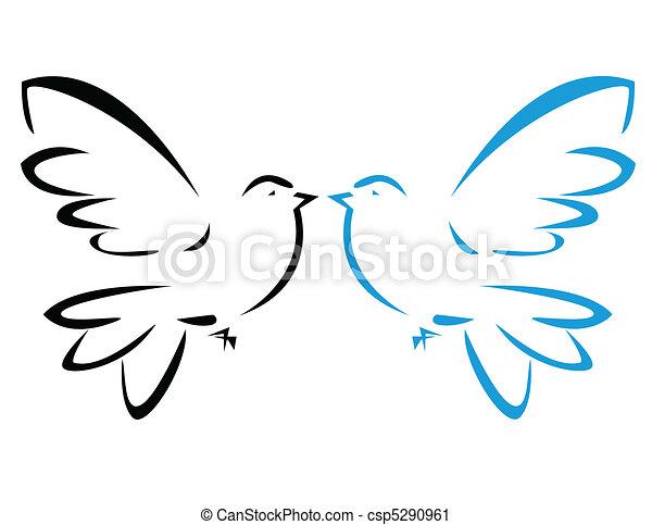Vector illustration of flying dove - csp5290961