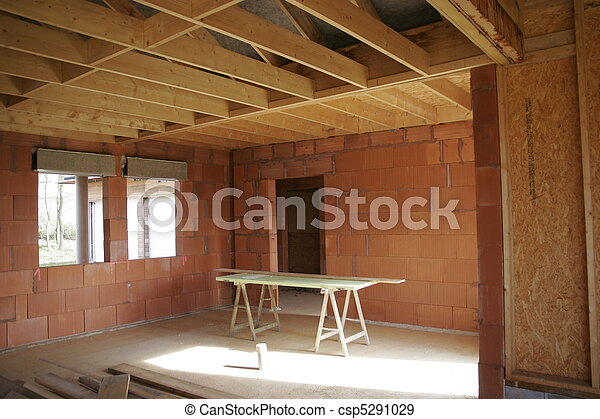 part of a wood house construction - csp5291029