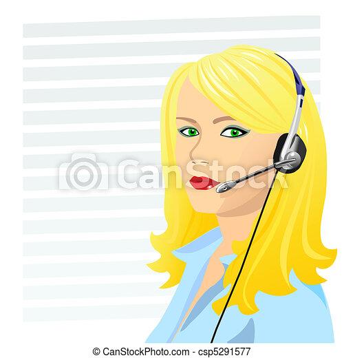 vector young beautiful girl telephone operator - csp5291577
