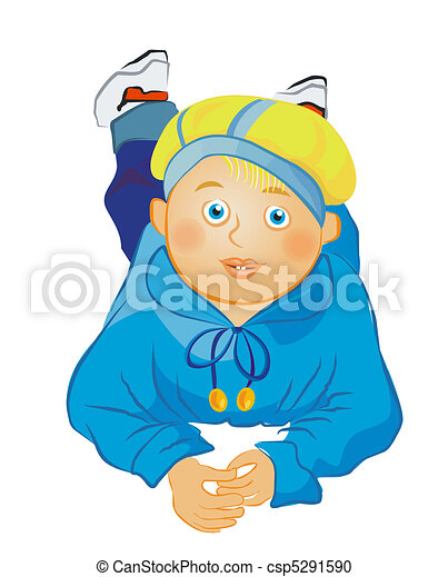vector  little boy lying on the floor - csp5291590