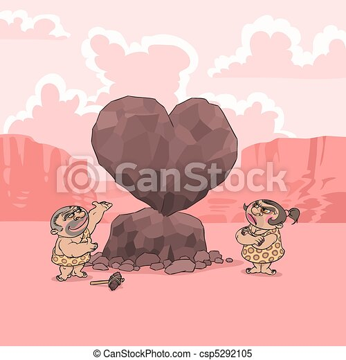 Valentine's Day in Stone Age - csp5292105