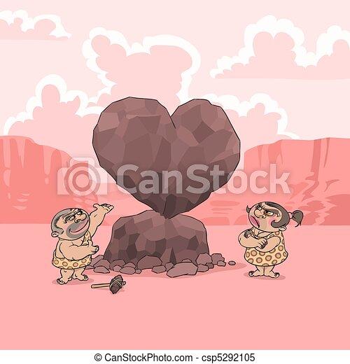 Valentine's Day in Stone Age - csp5292105