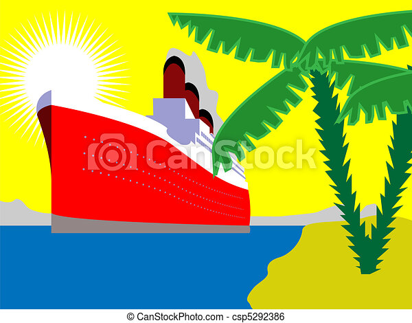 Ocean liner with palm trees - csp5292386