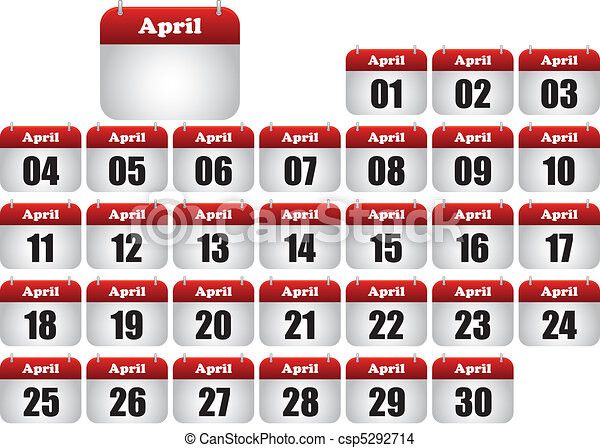 april icons calendar - csp5292714