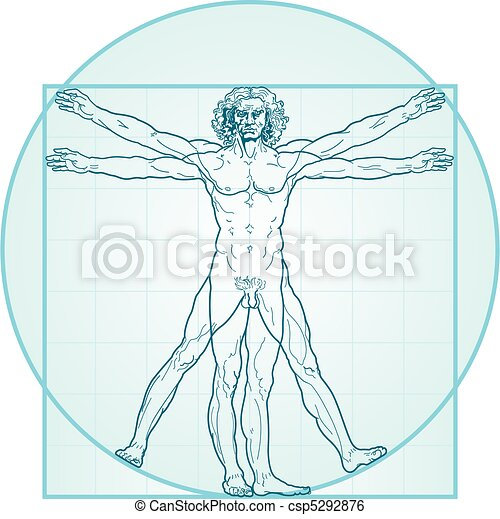 The Vitruvian man (Aqua-Air version) - csp5292876