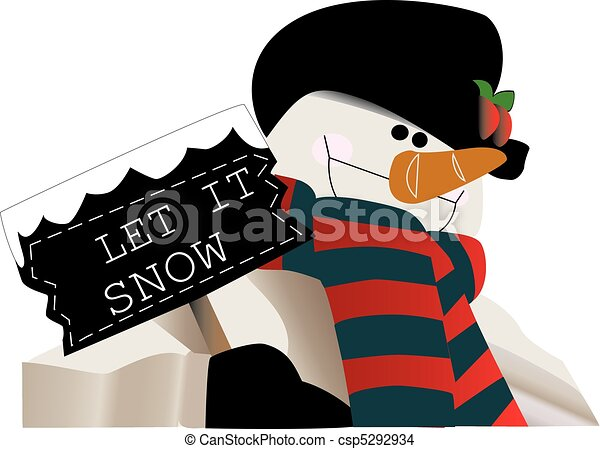 Let it snow! Snowman holding a sign - csp5292934