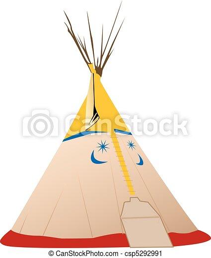 Vector Tipi illustration - Native american - csp5292991