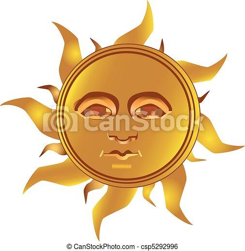 Clip Art Vector of Mayan Incan sun - Maya, vector - Mayan - Inca ...