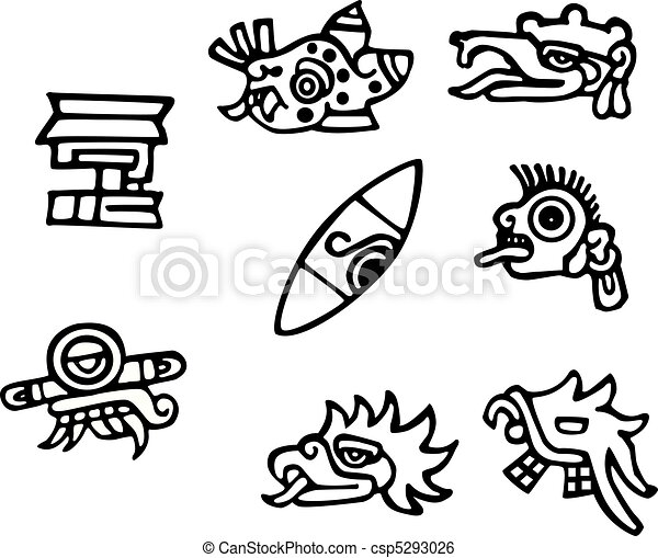 Mayan symbols, great artwork for tattoos - csp5293026