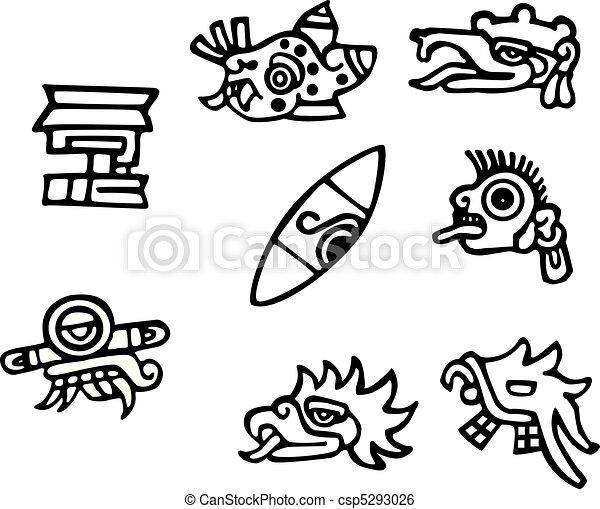 Mayan symbols, great artwork for tattoos - csp5293026