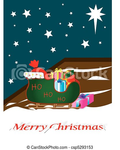 Santa sleigh full of gifts, outside, on a starlit - csp5293153