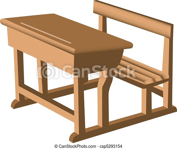 School Desk Drawing Vector - desk and chair unit