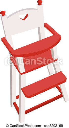 Vectorized wooden high chair, children safe chair - csp5293169